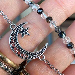 Double layer necklace moon star & druzy quartz